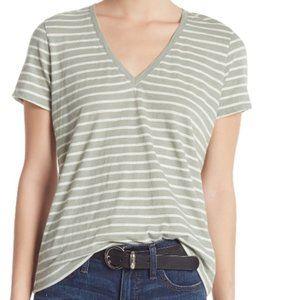Madewell Green Striped V Neck Cotton Shirt Top